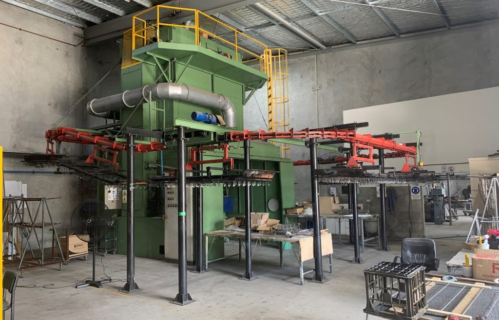 Our Italian made continuous line PVC coating machine with central chain and fluidised bed.